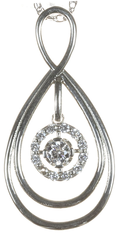 double tier pendant set with a lab diamond halo