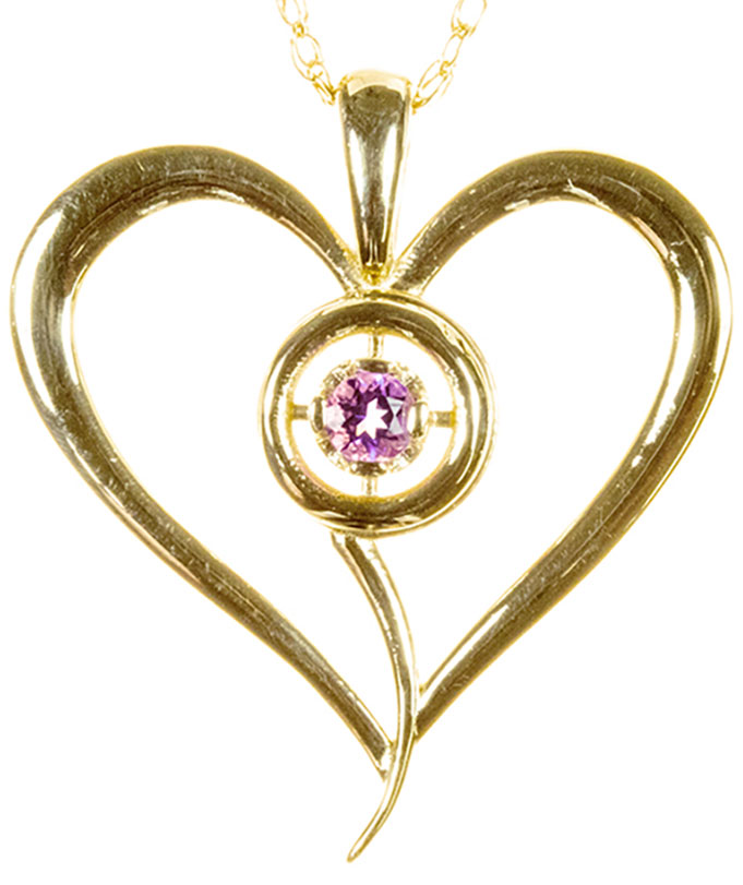 9ct yellow heart with Pink topaz