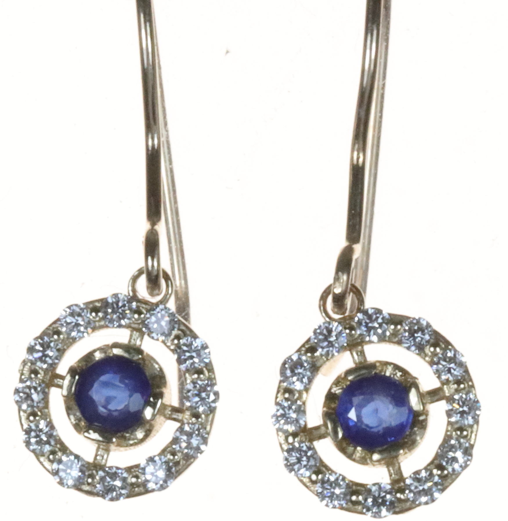 Round halo drop earrings